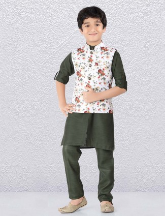 Printed terry rayon fabric white and green waistcoat set
