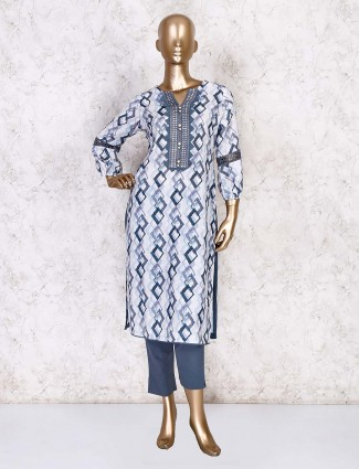 Printed white cotton casual kurti set with pant style bottom