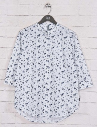 Printed white cotton casual wear shirt