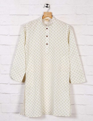 Printed white cotton kurta suit