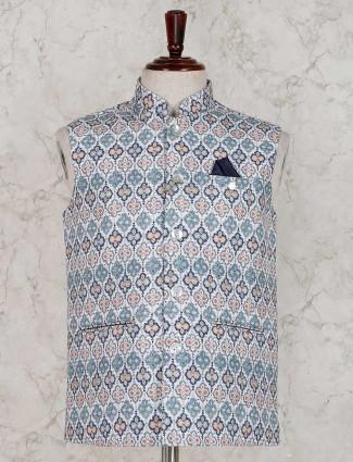 Printed white cotton silk waistcoat