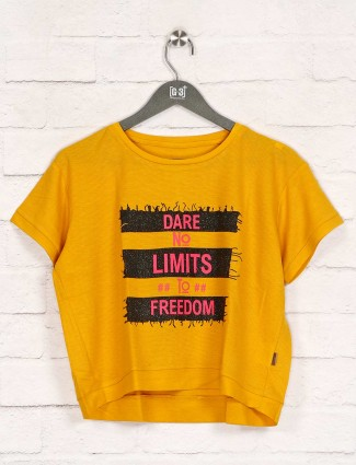 Printed yellow casual top