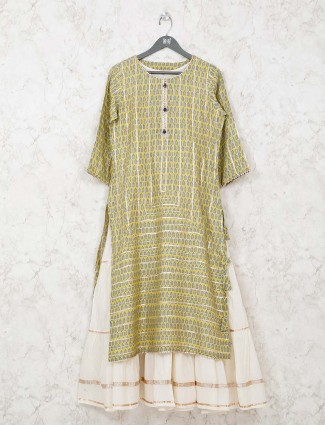 Printed yellow double layer kurti in cotton