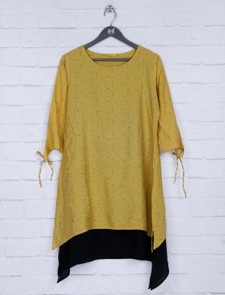 Printed yellow hue cotton fabric top