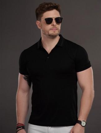 Psoulz black slim fit solid t-shirt