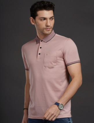 Psoulz casual wear light pink solid t-shirt