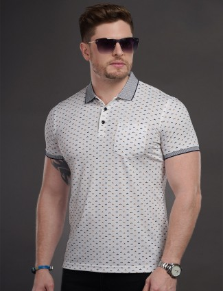 Psoulz cotton casual white printed t-shirt