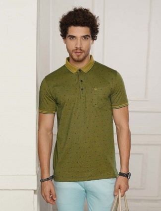Psoulz olive printed polo t-shirt