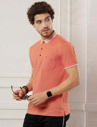 Psoulz orange solid half sleeves t-shirt