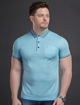 Psoulz patch pocket aqua solid t-shirt