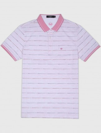 Psoulz pink striped pattern t-shirt