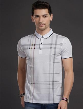 Psoulz polo white checks casual t-shirt