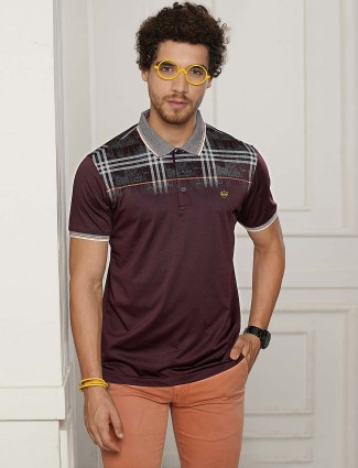 Psoulz purple wine printed casual t-shirt