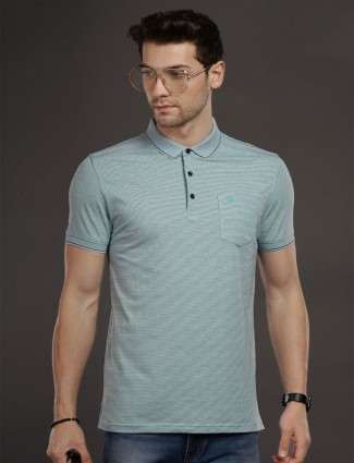 Psoulz stripe design aqua t-shirt