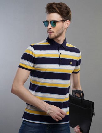 Psoulz yellow color stripe cotton t-shirt