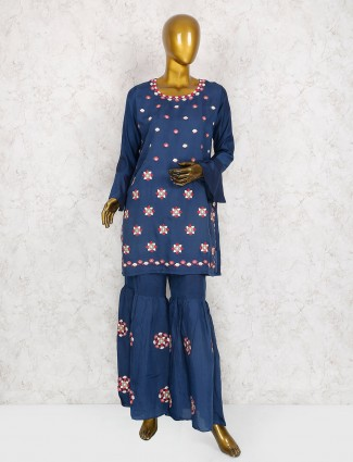 Punjabi blue color cotton silk salwar kameez