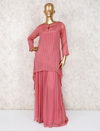 Punjabi lehenga in georgette pink