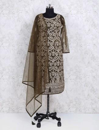 Punjabi look olive color net salwar suit