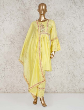 Punjabi pant suit in yellow cotton
