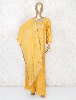 Punjabi plazzo suit in mustard yellow cotton silk