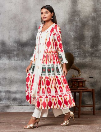 Punjabi salwar suit in off white hue