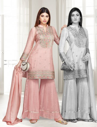 Punjabi sharara suit in cotton silk rose pink