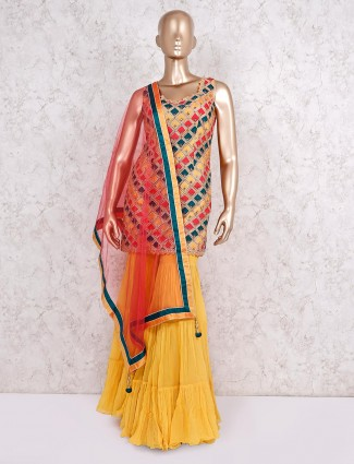 Punjabi sharara suit in yellow cotton silk