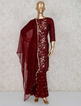 Punjabi wedding wear raw silk sharara suit