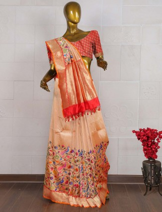 Pure banarasi wedding saree in peach color
