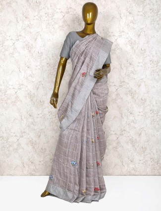 pure handloom silk grey color festive saree
