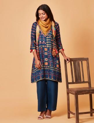 Pure raw silk teal blue punjabi salwar suit