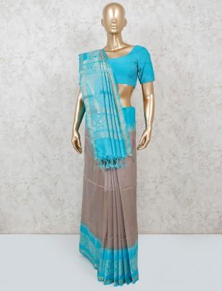 Pure silk beige wedding wear saree