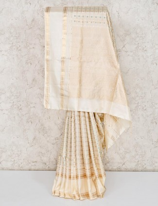 Pure silk fabric cream saree