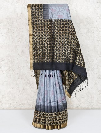 Pure silk grey festive wear saree