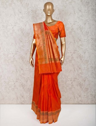 Pure silk orange saree for wedding