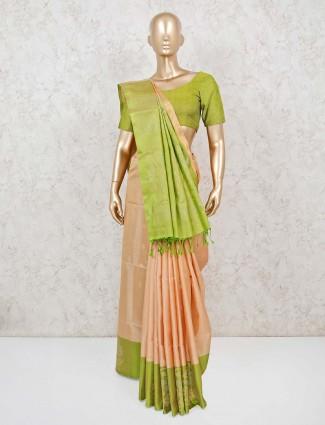 Pure silk saree in peach colour