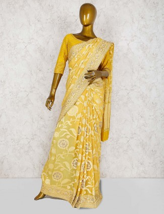 Pure silk saree in yellow hue