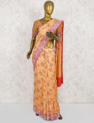 Pure silk wedding saree in peach hue