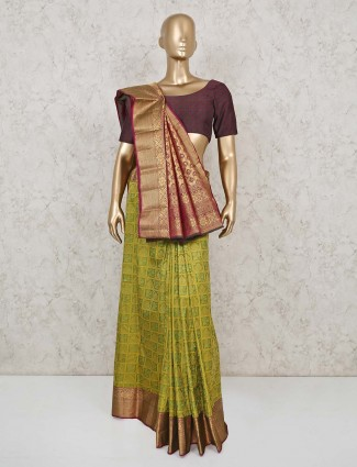 Pure south silk saree in green color