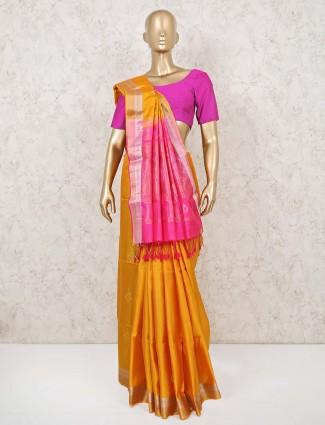 Pure south silk saree in mustard yellow and magenta