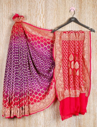 Purple and red colored bandhej saree for wedding