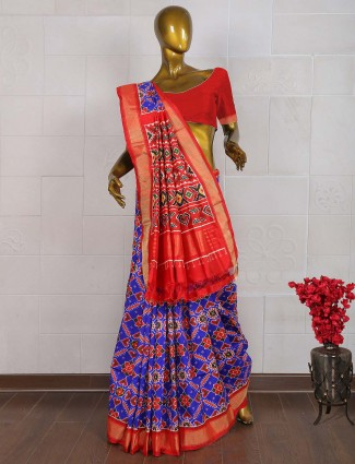 Purple and red hue saree in patola