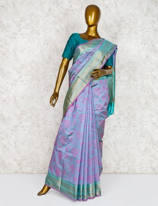 Violet banarasi silk saree for wedding