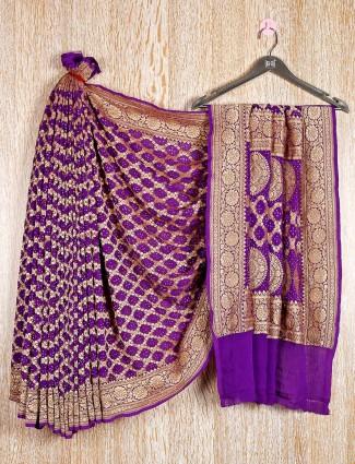 Purple bandhej pretty saree in festive