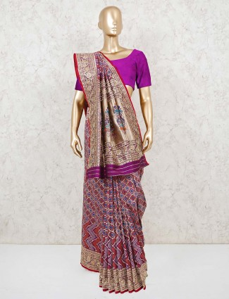 Purple bandhej wedding saree with beads work