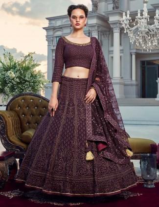 Purple bridal wear georgette quarter sleeves lehenga choli