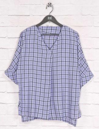 Purple checks cotton top