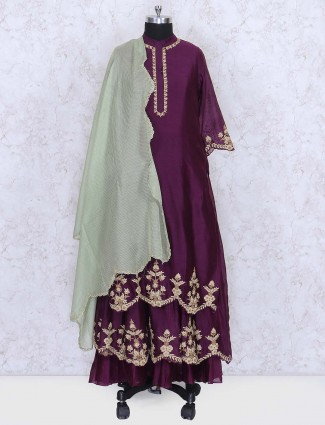 Purple color double layer salwar suit in cotton silk