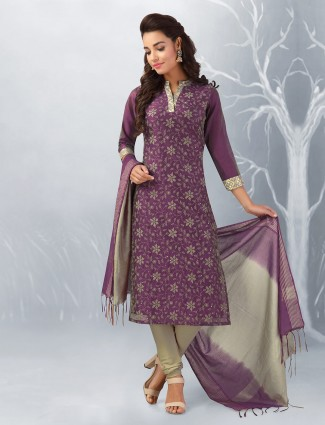 Purple color festive punjabi salwar suit