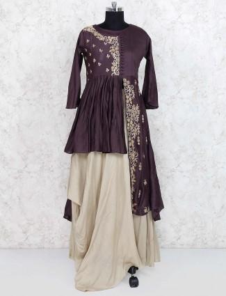 Purple color indo western style lehenga cum punjabi suit